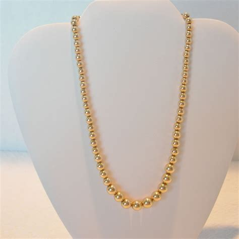 gold plated bead necklace vintage 12k gold plated bead necklace from dorothysbling