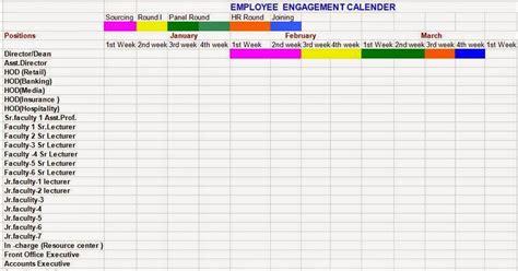 every bit of life employee engagement calendar format