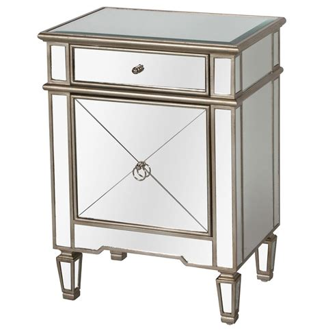 Silver Mirror Nightstand sloane regency silver mirror nightstand kathy kuo home