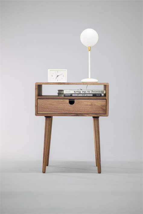 nachtschrank design mid century nightstand with drawer in solid walnut wood