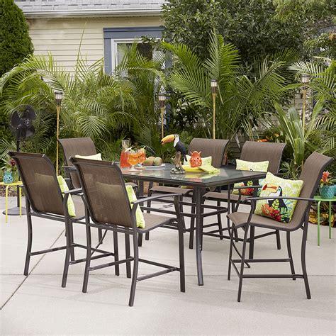 patio high dining set essential garden fulton 7 high dining patio set