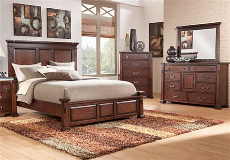 rooms to go computer clairfield tobacco 5 pc king panel bedroom bedroom sets