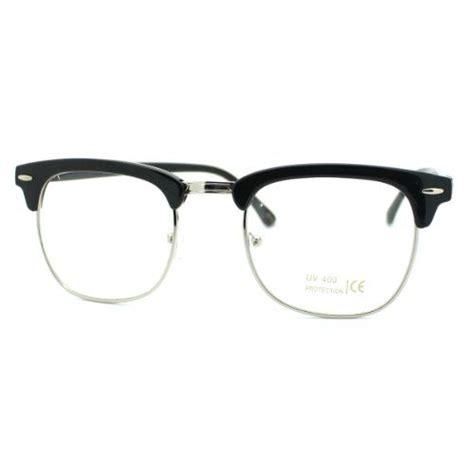 black silver clear lens club master half fashion eye