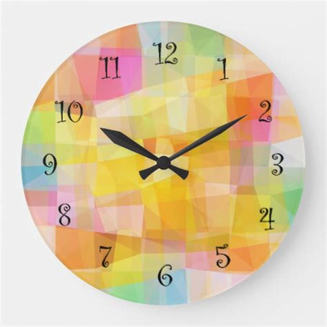 colorful wall clocks colorful abstract mosaic wall clock zazzle