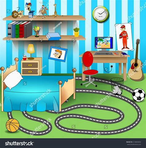 House Living Room Interior Design by Some Kid Bedroom Vector Art Image Stock Vector 214844692