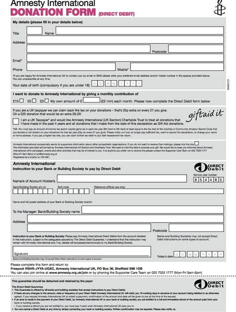 amnesty donation form template donation form template