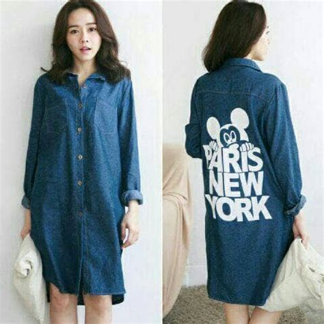 Fashion Xl Wanita In Newyork 072350 Tunik Blouse Dress Tunik Denim Mickey New York 60rb Kemeja