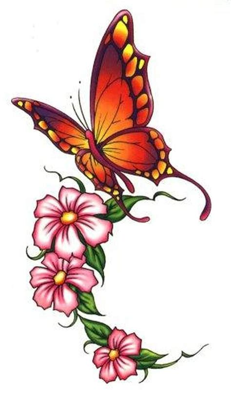 butterfly on flower tattoo designs beautiful butterfly flowers design tattoos book