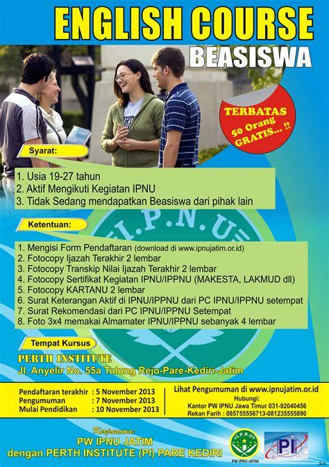 desain brosur kursus bahasa inggris info ipnu jatim berikan beasiswa kursus bahasa inggris