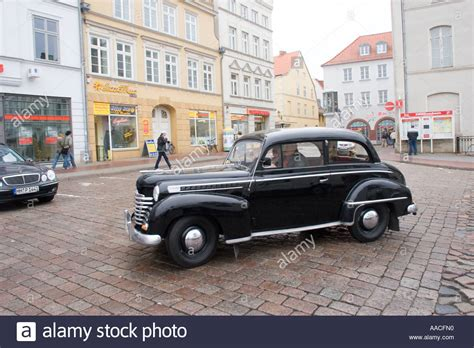 vintage opel car black vintage opel car in the market place in