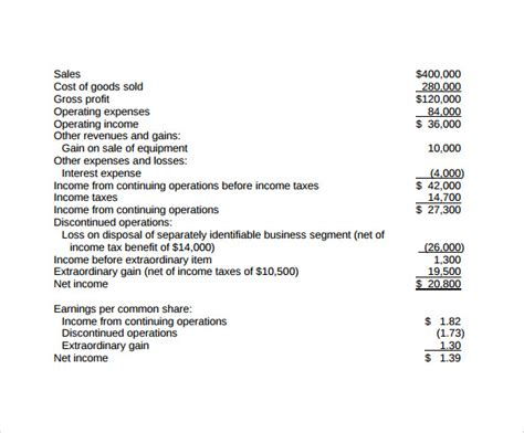 basic income statement template sle income statement 12 free documents in pdf word