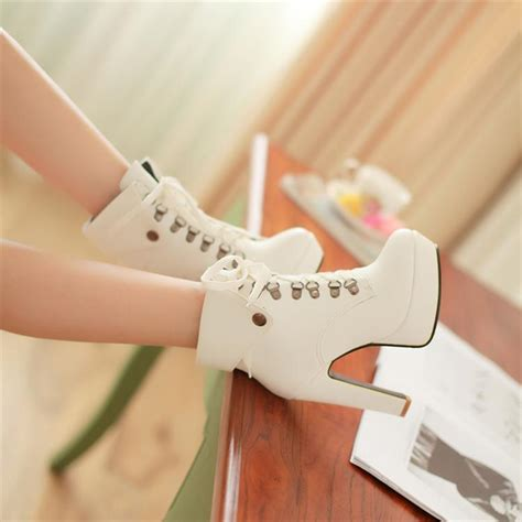 winter white high heel boots winter toe stiletto high heel lace up ankle white