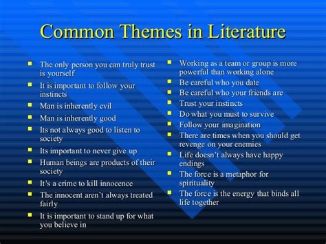 identifying theme in literature youtube universal themes in literature google search school