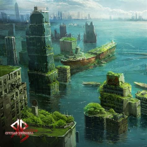 cities  sink  water fantasy landscape