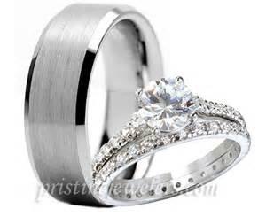 mens and womens matching wedding ring sets 3pc his hers tungsten 925 sterling silver engagement