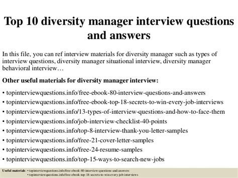 top 10 diversity manager questions and answers