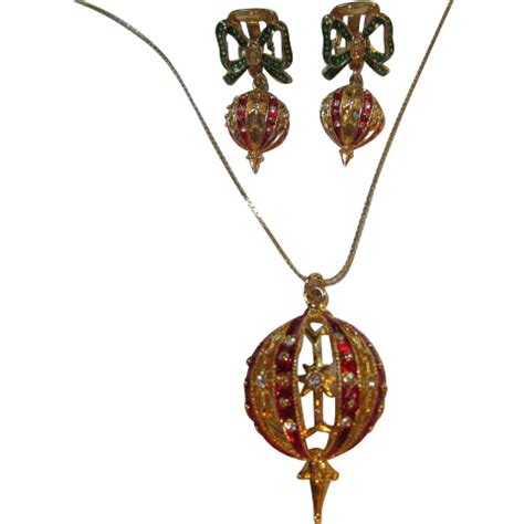 vintage enamel christmas ornament necklace earrings set