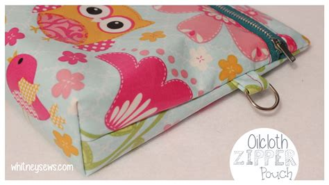 zippered pouch sewing pattern oilcloth zipper pouch with strap how to from whitney sews