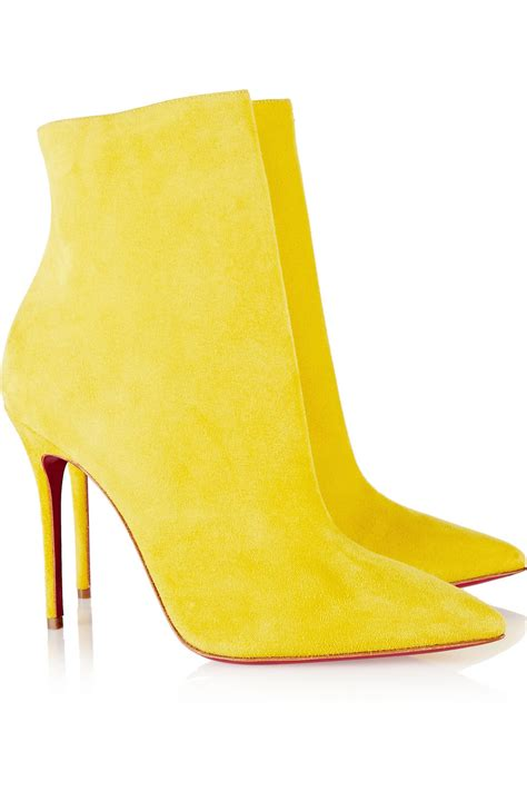yellow high heel boots christian louboutin so kate 100 suede ankle boots in
