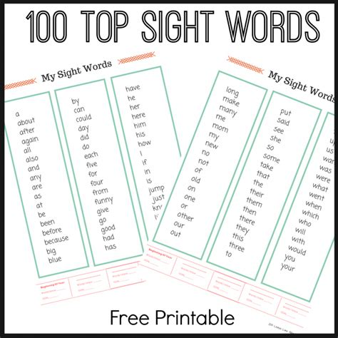 Free Printable Sight Word Worksheets by Free Top 100 Sight Word Printable