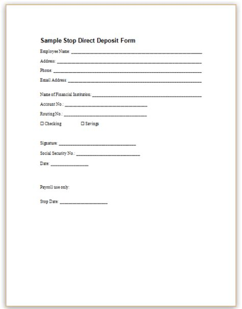 eft authorization form template ach authorization form template