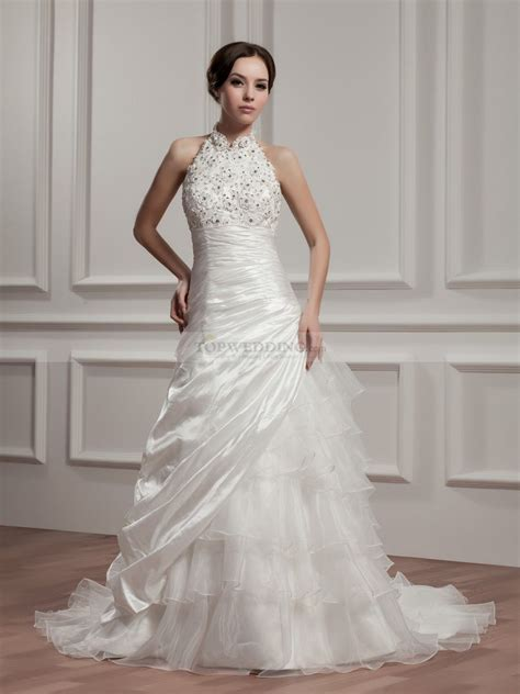 High Wedding Dresses by High Neck Strapless Wedding Dress With And Applique