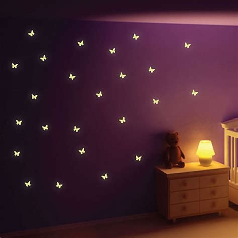 Kitchen Stickers Wall Decor glow in the dark butterfly wall stickers butterfly wall