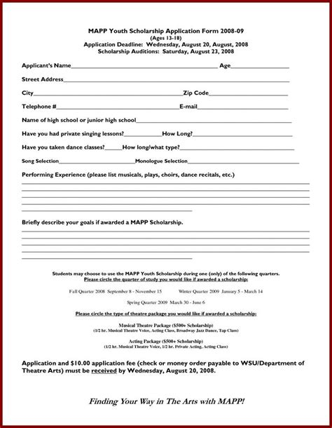 scholarship application templates download free
