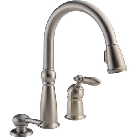 delta kitchen sink faucet shop delta stainless 1 handle deck mount pull kitchen faucet at lowes