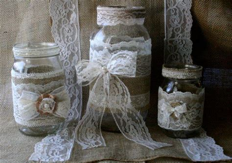 vintage lace wedding jars burlap wedding centerpieces