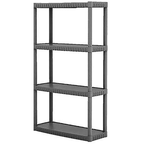 lowes shelving unit shop blue hawk 52 62 in h x 34 75 in w x 14 63 in d 4 tier plastic freestanding shelving unit at