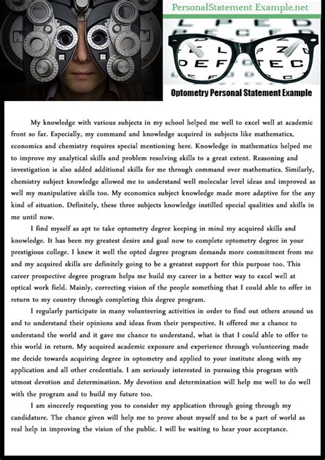 excellent professional optometry personal statement exle