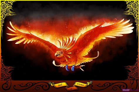 how to draw a phoenix bird of flames step by step
