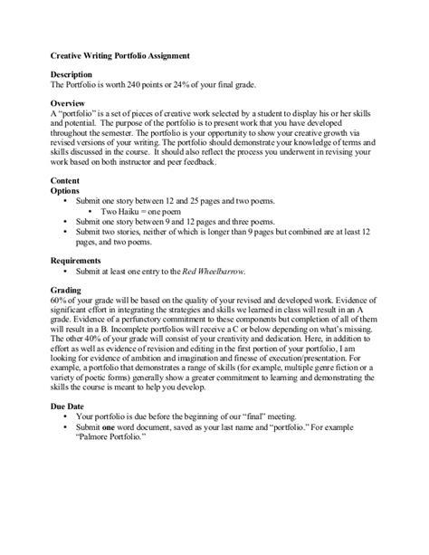 How To Write A Portfolio Essay by Creative Writing Portfolio Assignment