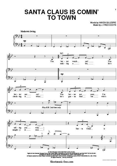printable lyrics to santa claus is coming to town santa claus is comin to town sheet music michael buble