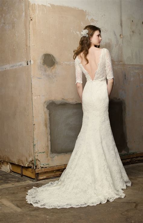 wedding dress with sleeves and open back sang maestro