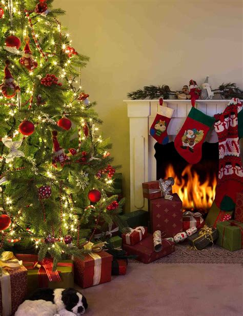 christmas tree  gift  fireplace  holiday photography shopbackdrop
