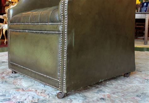 Antiques atlas vintage green leather porter s chair