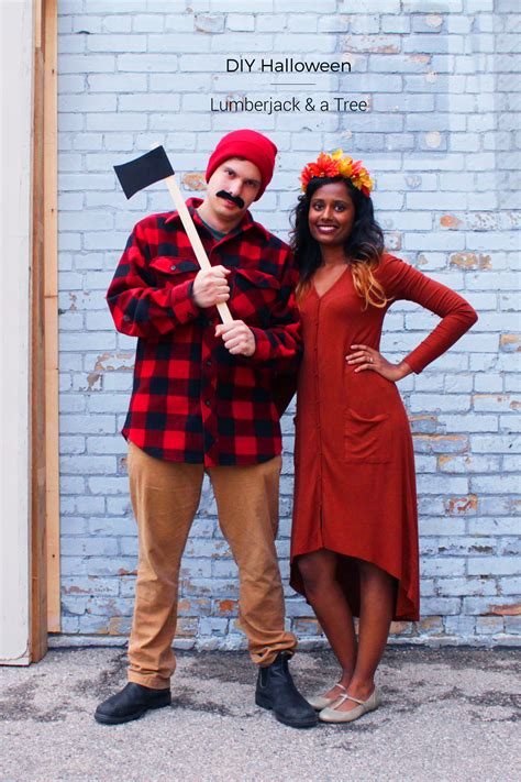diy halloween couples costume lumberjack  tree fish