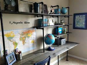 boy desk diy industrial shelving desk in a boy s room 11