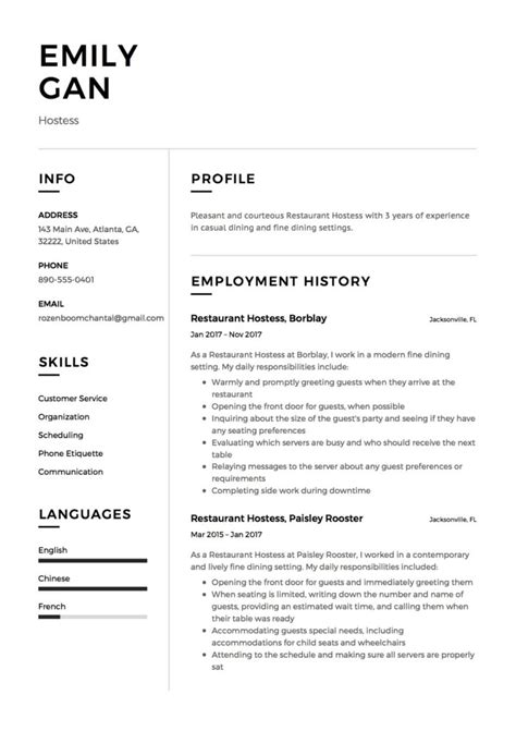 Restaurant Resume Templates by 12 Free Restaurant Hostess Resume Sles Different
