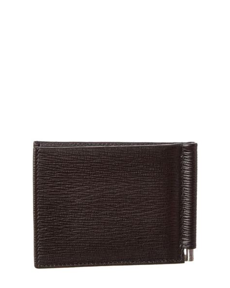 Jual Dompet Salvatore Ferragamo Embossed Leather Bifold Brown Pria ferragamo revival money clip leather bifold wallet in brown for lyst