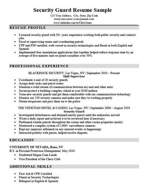 security guard resume sle canada security guard resume sle writing tips resume companion