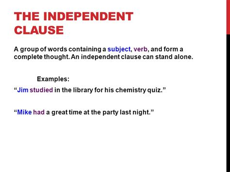 exle of independent clause independent dependent clauses ppt