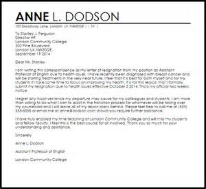 Resignation Letter Due To New by Resignation Letter Due To Health Resignation Letters Livecareer