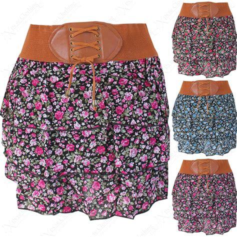 flower patterned mini skirt new women floral print tier look layer skirt belt ladies