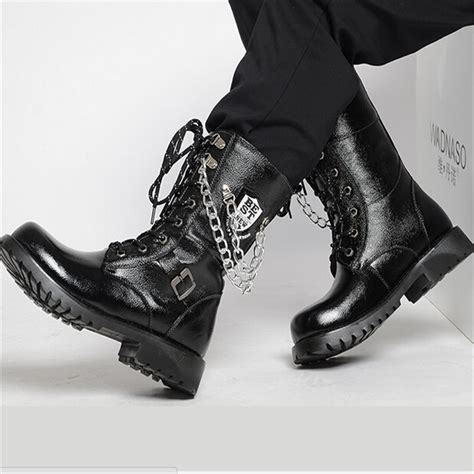 mens high leg boots autumn winter knee high s leather shoes fashion