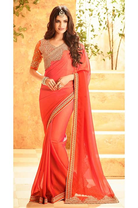 which colour blouse suits for pink saree star silk georgette fabric party wear saree in pink color