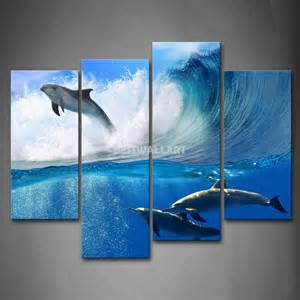 Painting Over Canvas Wall Art Dolphins Jump Over Sea And Swimming In Blue Sea Wave 4