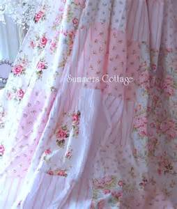shabby chic drapes shabby aqua blue pink cottage roses chic shower curtain